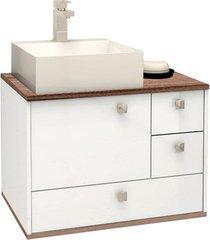 gabinete em mdp moema 60x43,8cm branco e tamarindo