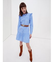 motivi vestito chemisier in popeline donna blu