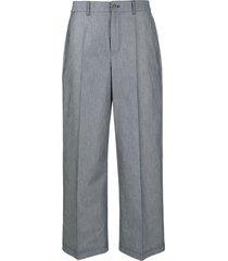 agnona high-waisted crop trousers - blue