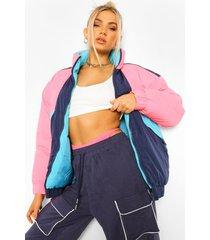 gewatteerde colourblock jas, pink