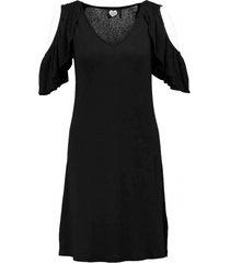 catwalk junkie soepel zwart batwing jurkje viscose stretch valt kleiner