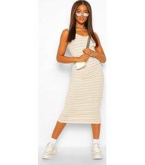 geribbelde gestreepte bodycon jurk, crème