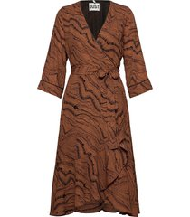 celine wrap dress knälång klänning brun just female