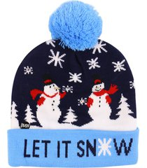 christmas tree snowman elk knitted bobble hat