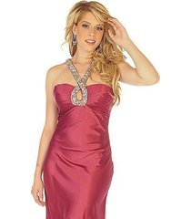 sophisticated sexy embellished halter berry prom evening gown dress joli 9584