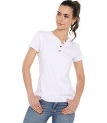 camiseta con botones de mujer licrada-blanco polovers