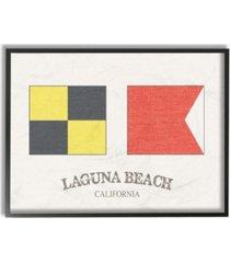 "stupell industries laguna beach nautical flags framed giclee art, 11"" x 14"""