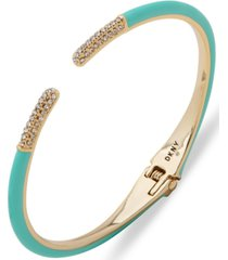 dkny gold-tone turquoise color cuff bracelet