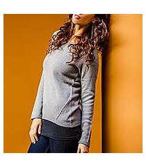 cotton and alpaca sweater, 'puno gray' (peru)