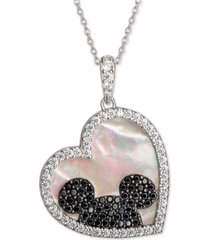"disney mickey mouse cubic zirconia & black spinel heart 18"" pendant necklace in sterling silver"