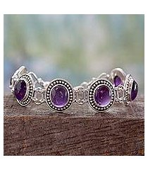 amethyst link bracelet, 'lilac garland' (india)