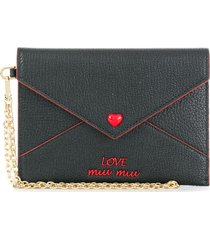 miu miu love embroidered envelope pouch - black