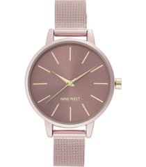 nine west women's pink mesh bracelet watch, 38mm