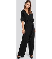 na-kd party kimono sleeve lurex jumpsuit - black
