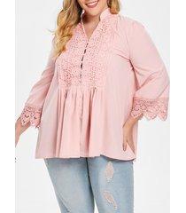 plus size button up crochet blouse