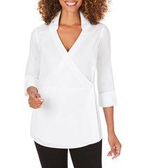 women's foxcroft solista wrap front stretch cotton blend blouse