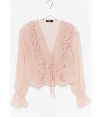 womens frill the one i love chiffon tie blouse - nude
