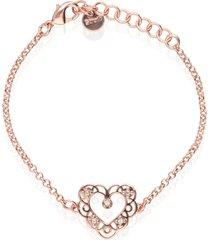 bracciale in ottone rosato e strass con charm a forma di cuore per donna