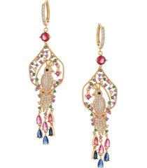 eye candy la women's bird luxe 18k goldplated & multicolored crystal dangle earrings