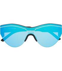 balenciaga eyewear mirrored oversized sunglasses - black