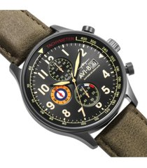 avi-8 men's hawker hurricane chronograph army green genuine leather strap watch 42mm