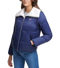 levi's faux-sherpa-lined bomber puffer jacket