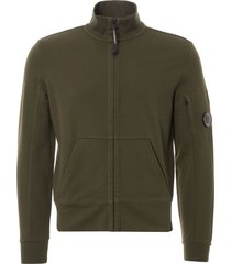 c.p company diagonal fleece track top - dark olive 05cmss045a