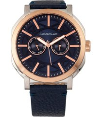 morphic m62 series, rose gold case, navy leather band watch w/day/date, 44mm