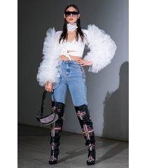 akira lavinia chain detail high rise straight jeans