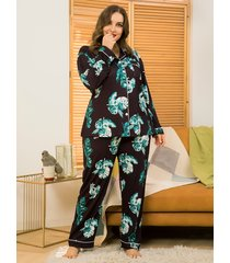 plus talla negro hojas imprimir ropa de dormir traje de dos piezas