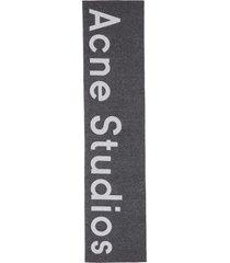 logo jacquard wool blend scarf