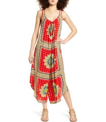 women's band of gypsies athens jumpsuit, size medium - red