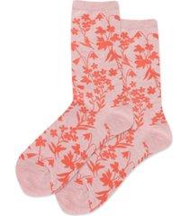 hot sox women's floral crew socks