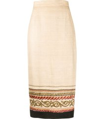 a.n.g.e.l.o. vintage cult 1990s embroidered midi slim-fit skirt -