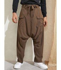 harem holgado anudado con entrepierna caída informal para hombre pantalones