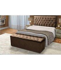 cabeceira mais calçadeira baú casal queen 160cm para cama box sofia suede marrom - ds móveis