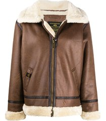 alpha industries faux shearling aviator jacket - brown