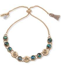 lonna & lilly gold-tone engraved leaf vine coin & stone slider bracelet
