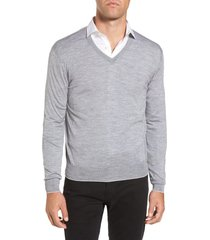 men's eleventy merino wool & silk tipped sweater, size x-large - grey