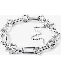 mk bracciale base con catena in argento sterling con placcatura in metallo prezioso - argento (argento) - michael kors