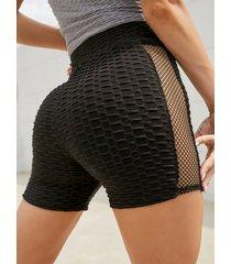 yoins leggings negros de jacquard de cintura media pantalones cortos súper elásticos