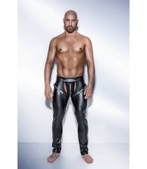 * noir handmade wetlook lange broek met verstekbare bandjes