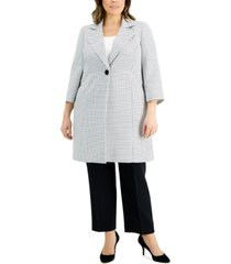 le suit plus size one-button jacquard pantsuit