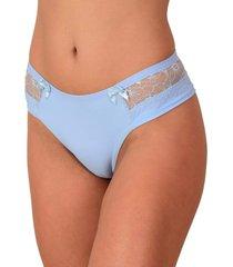 calcinha fio duplo vip lingerie poliamida com renda azul