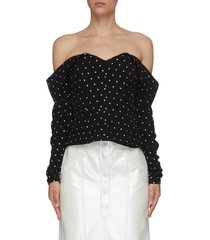crystal embellished off-shoulder top