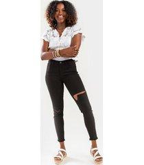 janice distressed jeans - black