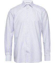 checked cotton & linen shirt overhemd business blauw eton