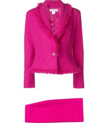 christian dior pre-owned frayed skirt suit - pink