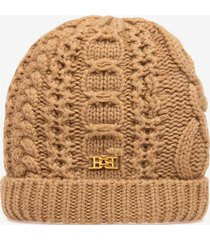 cable knit beanie brown 1