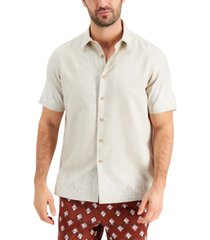 tasso elba men's engineered hem print short sleeve shirt, created for macy's